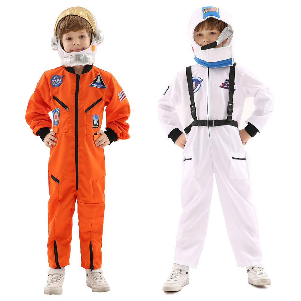 Astronaut Spaceman Cosplay Costume for Children 2-color Jumpsuit for Fancy Dress Party,Halloween or Children's Day with Helmet
