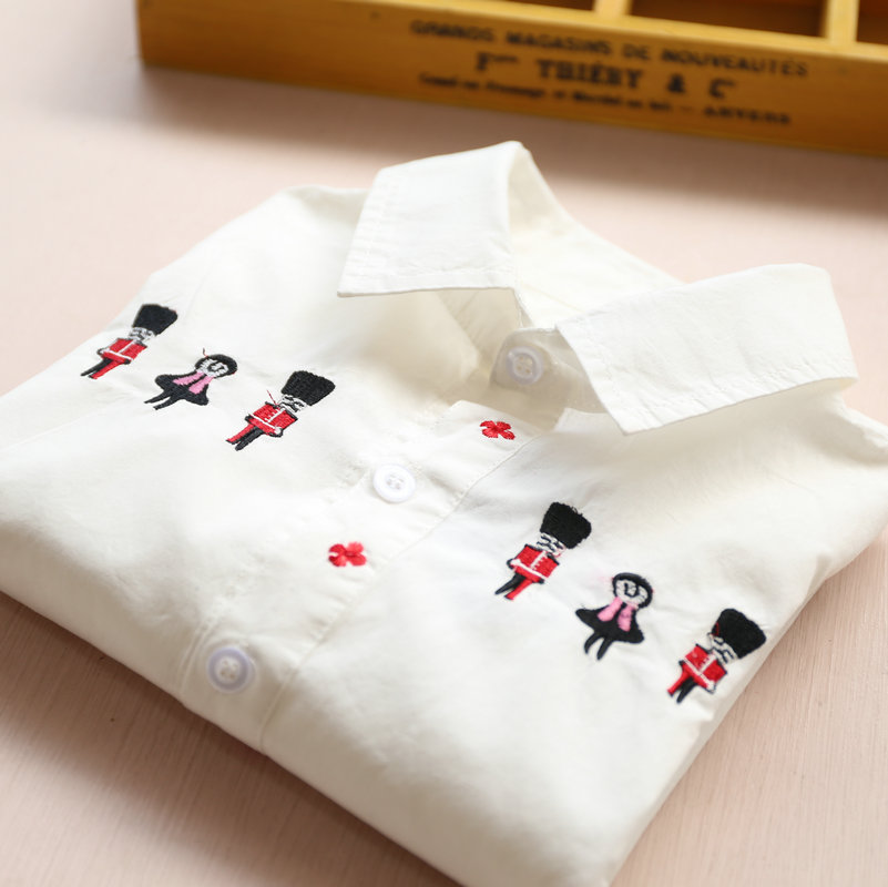 2016 New Children s Clothing Embroidered Cartoon Soldiers White Shirt Girls Long Sleeves Cotton Turn Down
