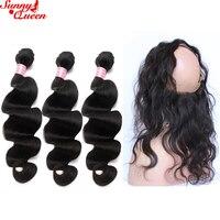 Средства ухода за кожей волна Человеческие волосы Связки с 360 Синтетический Frontal шнурка волос Синтетическое закрытие волос Sunny Queen продуктов