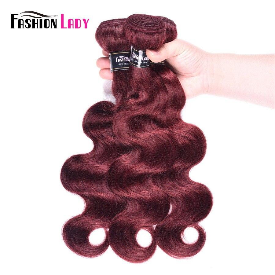 Fashion Lady Pre-Colored Malaysian Body Wave Bundles Red Human Hair Weave 99j Bundles 3/4 Bundles Per Pack Non-Remy