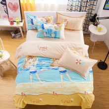 Bright Summer Sandbeach Girls Bedding Set 3/4Pcs Cartoon Kids Girls Bed Linen Quilts Bedsheet Duvet Cover Set Bedclothes