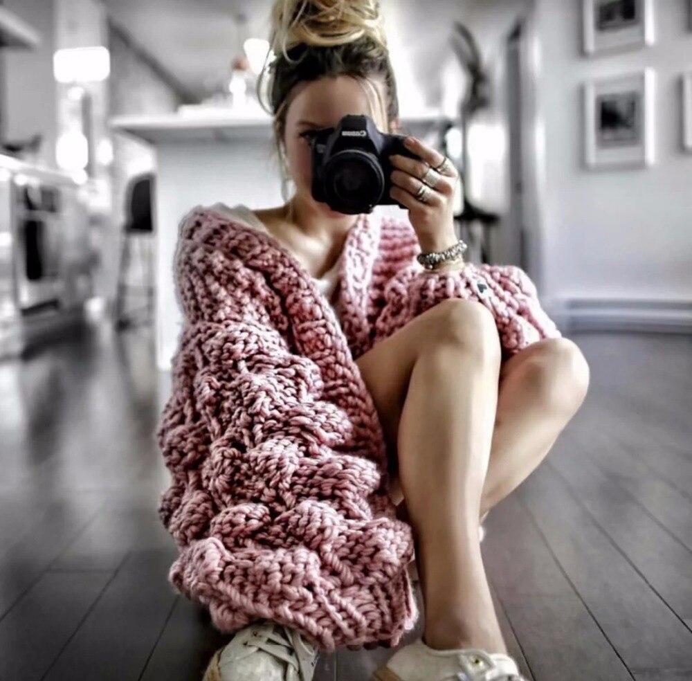 Hiver chaud tricoté pull au Crochet pour les femmes fringant Chunky Oversize Cardigan manteau ouvert femmes chandails Cardigan femmes tricots