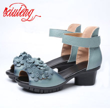 Xiuteng 2018 High quality Genuine leather shoes summer sandals For Woman Med heels shoes fashion Floral Shoes women party Gift