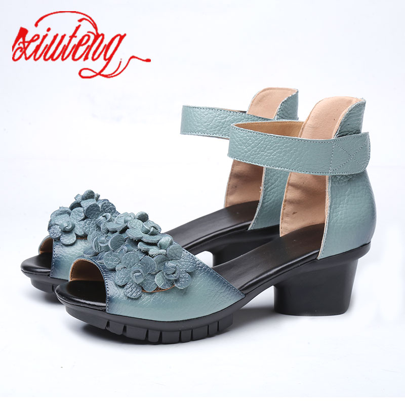 Xiuteng 2019 High quality Genuine leather shoes summer sandals For Woman Med heels shoes fashion Floral Shoes women party GiftXiuteng 2019 High quality Genuine leather shoes summer sandals For Woman Med heels shoes fashion Floral Shoes women party Gift