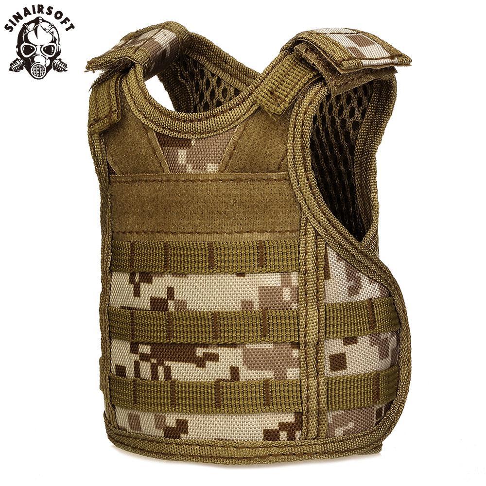 SINAIRSOFT Tactical Premium Birra Militare Molle Mini Miniatura Gilet da Caccia Bevanda di Raffreddamento regolabile cinghie di spalla LY2074