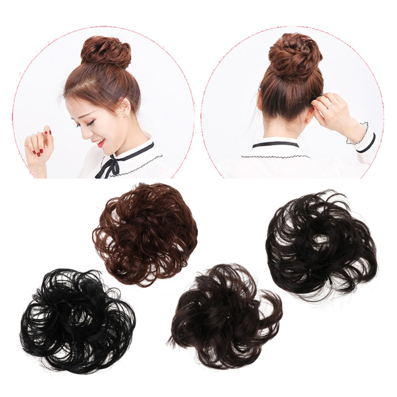 Natural Hair Bun Extension Wavy Curly Messy Donut Hairband Chignon