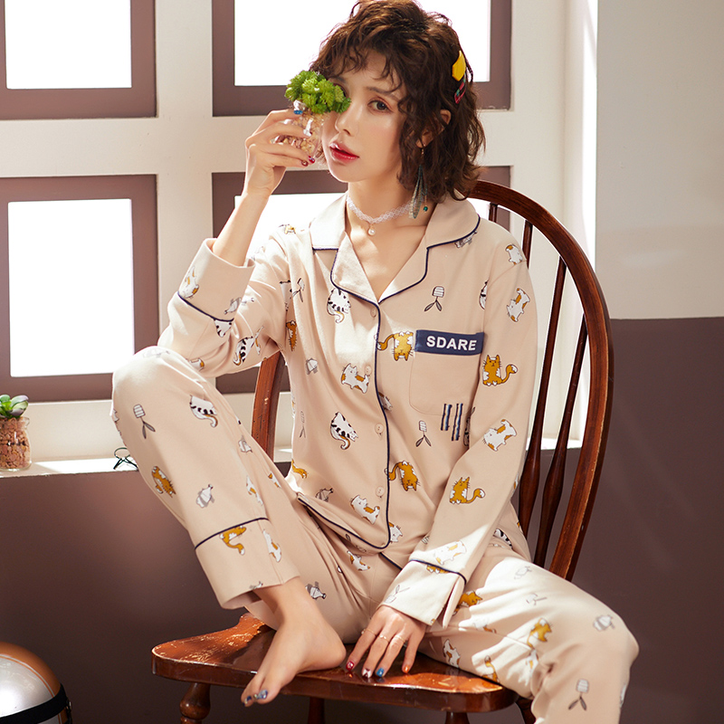 BZEL 2Pcs Women Long Sleeve Pijama Mujer Underwear Cotton Sleepwear Cartoon Cat Casual Loose Pajamas Set Nightwear Sleep Lounge
