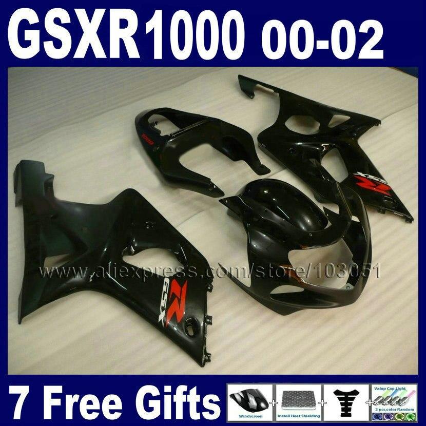Пользовательские мотоцикла Обтекатели части для Suzuki GSXR1000 2000 2001 2002 K2 GSX R1000 01 00 02 GSXR 1000 все черный обтекатель bodykits