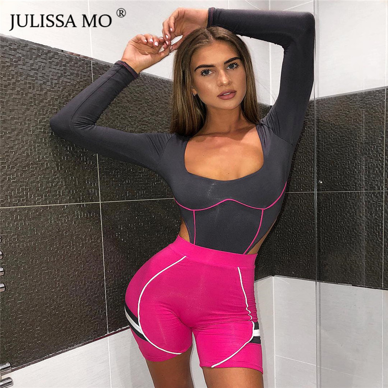 JULISSA MO Striped Patchwork Sexy Bodysuit Women Summer Long Sleeve Bodycon Rompers   Jumpsuit   One Piece Basic Womens Tops Fitness