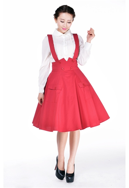 eea3fa7f444 35- women vintage 50s swing circle suspender Skirt in red black plus size  pockets button up retro braces skirts jupe faldas