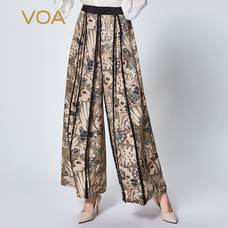 VOA silk jacquard printing and dyeing waist pocket stitching loose comfortable casual wild   wide     leg     pants   K927