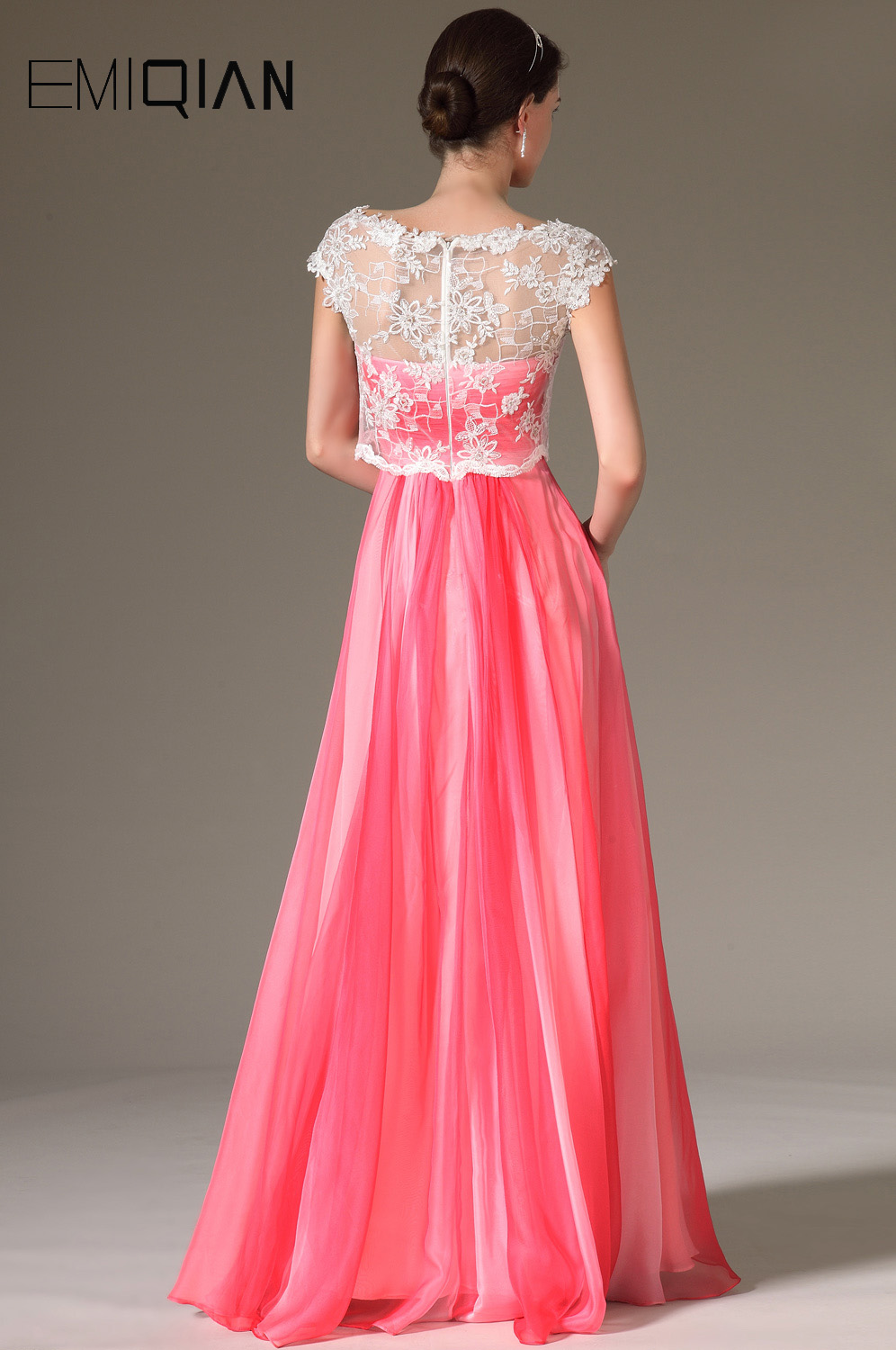 Free Shipping New Cap Sleeves Chiffon Evening Gowns Formal Women Dresses  with White Lace Jacket-in Evening Dresses from Weddings   Events on  Aliexpress.com ... 8e154cf59e58