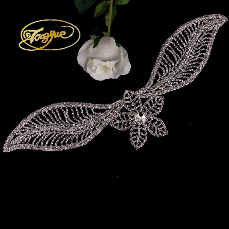 1 Pc 10*45 cm argent doré verre strass Applique strass pour robes de mariée coudre sur strass pour décoration de Costume