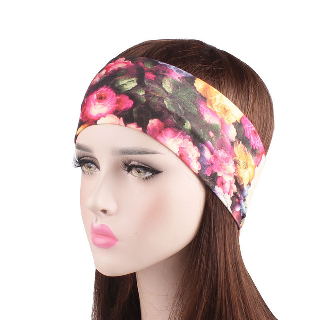 766f0ebd915 New Women Yoga Wide Headband Sport Elastic Cotton Printed head bandage  running Sweat Absorbing Running Gym