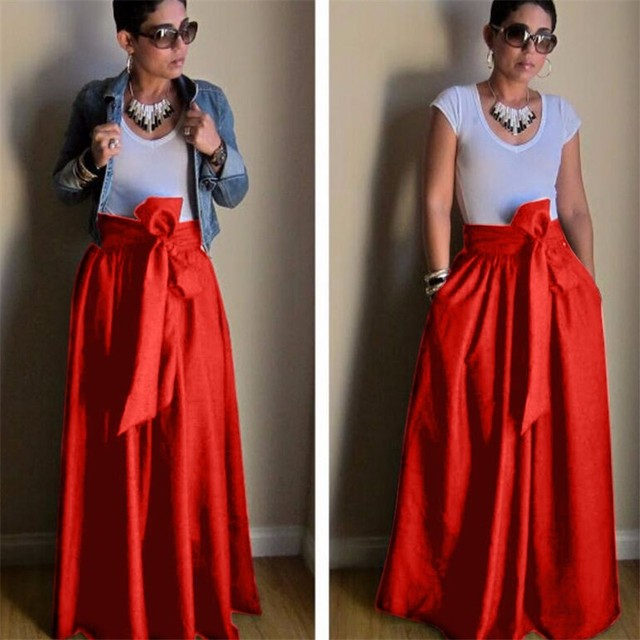 7ed012f9594 WBCTW Maxi Pleated Skirts 9XL 10XL Plus Size High Waist Elegant Women Skirts  Autumn Summer Red Long Ball Gown Party Skirt