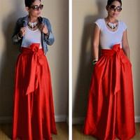 WBCTW Maxi Pleated Skirts 9XL 10XL Plus Size High Waist Elegant Women Skirts Autumn Summer Red Long Ball Gown Party Skirt