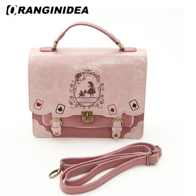 Alice In Wonderland Shoulder Bags for Women Vintage Student Handbag Playing Cards Silhouette Leather Bag Lady Sweet Satchels