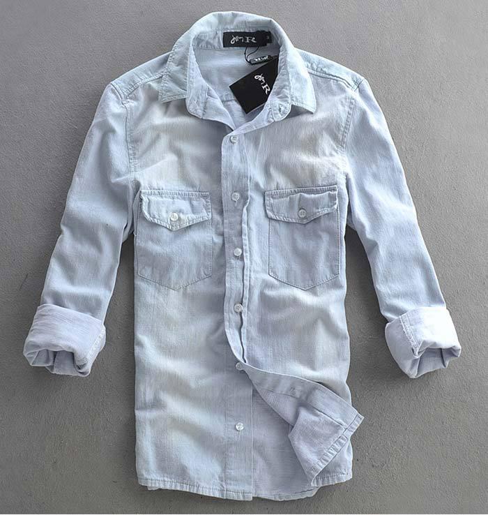 22d71ea4c74 Mens slim fit Distressed denim long sleeved shirt