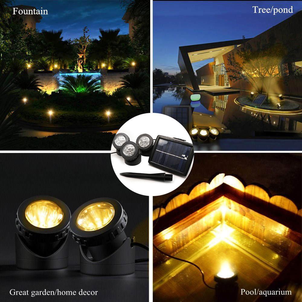 Binval Solar Led Underwater Lights Pond Light Landscape Spotlight IP68 Waterproof Submarine Projector Light for Pond Garden Lawn
