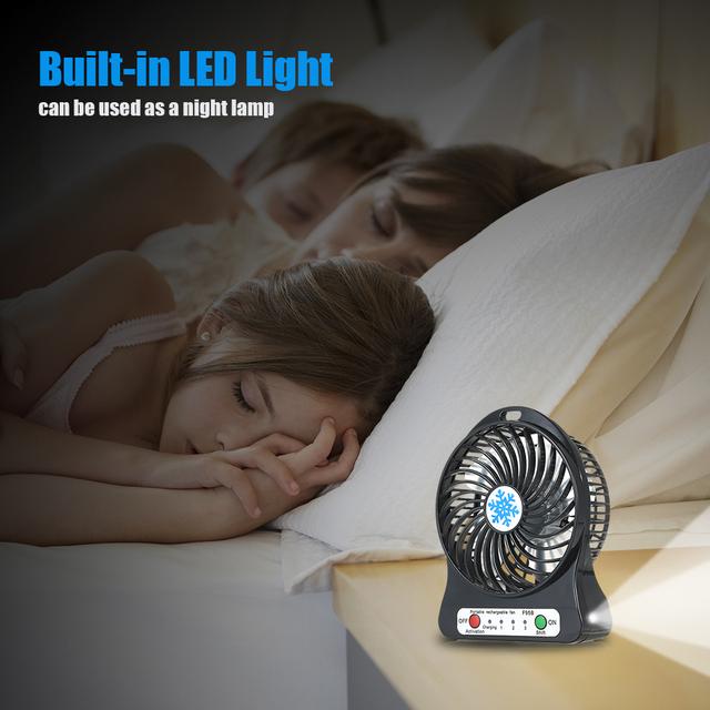 Portable Rechargeable LED Light Fan Mini Desk USB Charging Air Cooler 3 Mode Speed Regulation LED Lighting Function Cooling