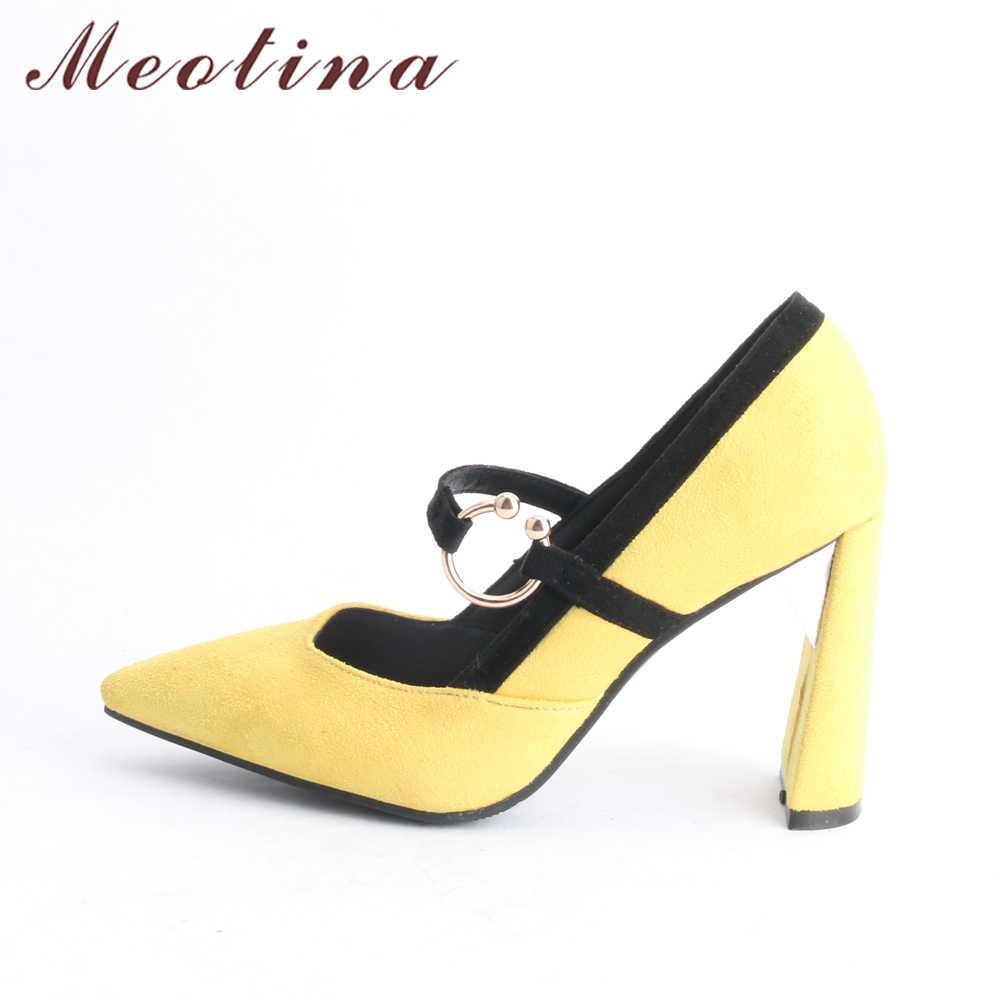 Meotina damskie buty na wysokim obcasie buty Mary Jane Pointed Toe damskie czółenka grube obcasy damskie obuwie 2018 nowy czerwony żółty rozmiar 33-46