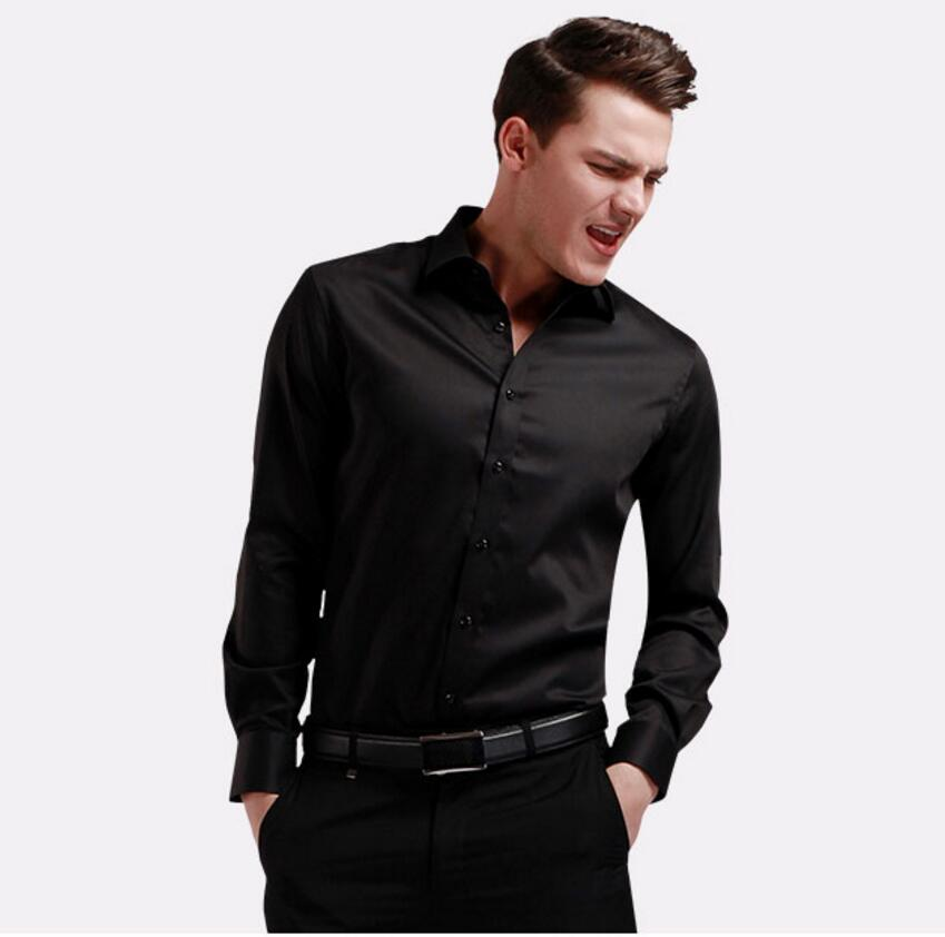 Hot sale high quality customized pure color man lapel shirt single-breasted long-sleeved shirt elegant multi-color optional