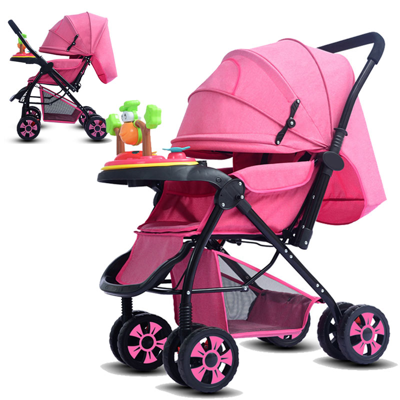 Convertible Handle High Landscape Widening Baby Stroller Can Lie Down Folding Baby Umbrella Car Four Seasons Baby Cart Trolley