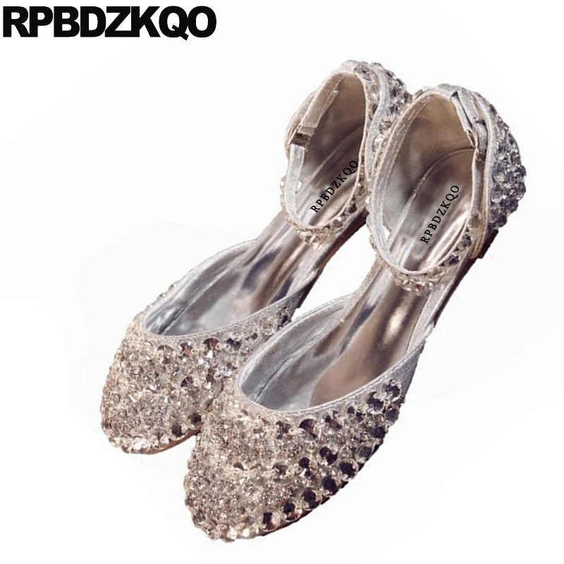 9f4215eab5 Wedding Women Dress Shoes Round Toe Silver Crystal Sandals Bling Sparkling  Diamond Ankle Strap Rhinestone Lady Flats Cinderella