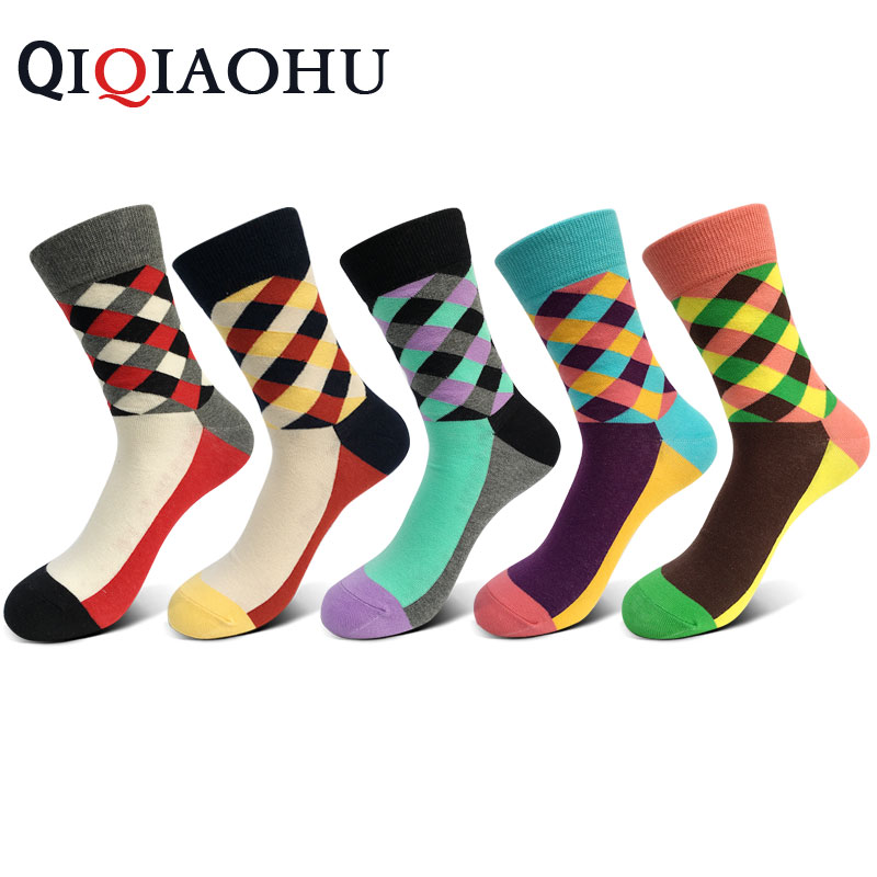5 pairs/set men cotton socks gradient color autumn spring quality funny socks bright color crew sokken fashion meia wedding socs
