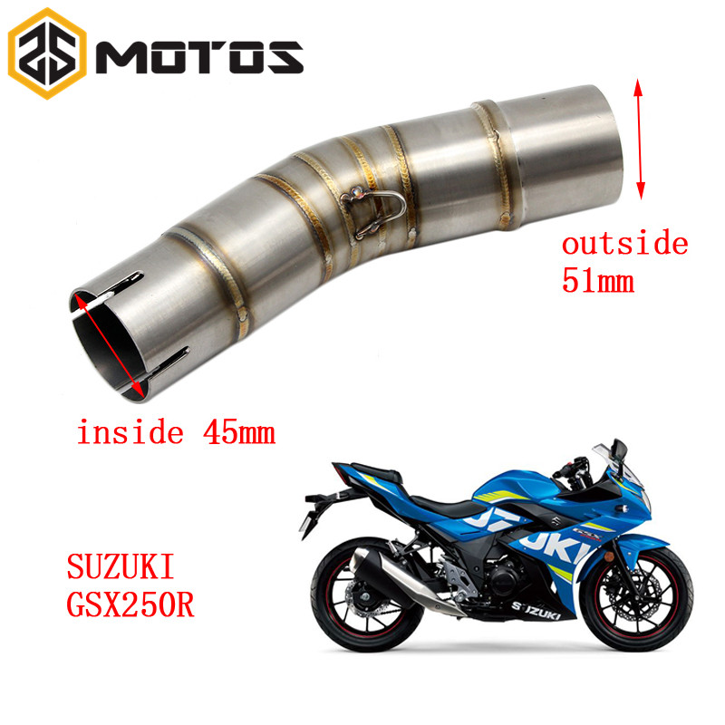 ZS MOTOS Motorcycle <font><b>Exhaust</b></font> Middle Pipe For <font><b>SUZUKI</b></font> <font><b>GSX250R</b></font> Without <font><b>Exhaust</b></font> image