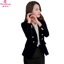 4b3a425f6acbc Yuxinfeng 2018 Spring Autumn Women Velvet Blazers and Jackets Double  Breasted Button Office Work Wear Suit