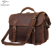 Crazy Horse Genuine Leather Men Bag Men Briefcase male Leather business Laptop Bag Crossbody Bags for Man handbags 7370R