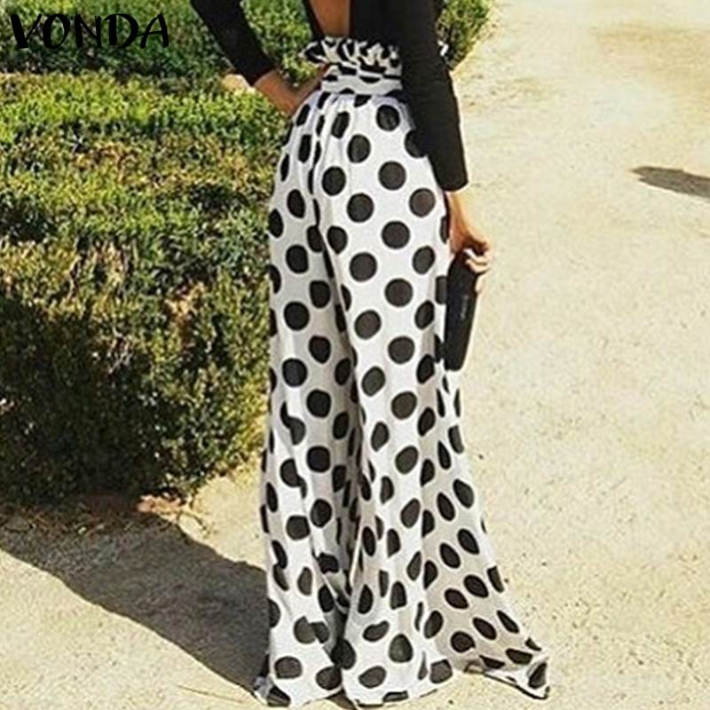 2019 VONDA Women Dot Printed   Pants   Plus Size Sexy Vintage Office Ladies Long   Wide     Leg     Pants   Summer Casual Loose Trousers Bottom