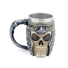 3D Skull Coffee Mug Stainless Steel Liner Creative Beer Milk Tea Mugs Warrior Tankard Viking Cup For Halloween Decoration Gift(China)
