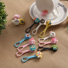 9pcs New Cartoon buckles type soft rubber headset bobbin winder cable Cord ties Holder For Iphone