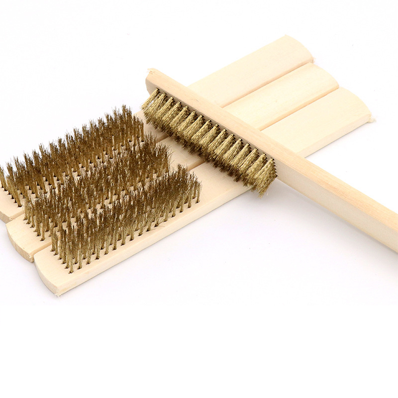 6x16 Row Beech Wood Handle Brass Wire Brush Copper Brush for Industrial Devices Surface/Inner Polishing Grinding Cleaning barbecue copper wire brush with handle