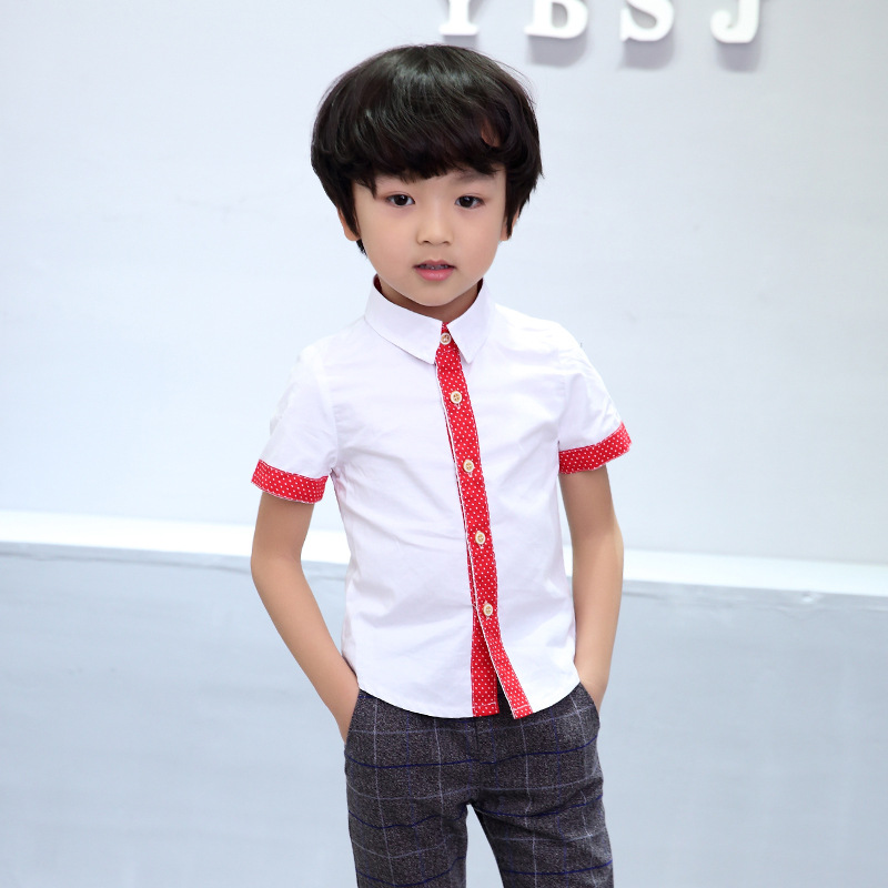 67794584c6 2017 New Summer Baby Shirts Short-Sleeve Cotton Shirts Gentle Boys wear  Tops Good Quality. US  14.50. NEW Arrival Baby Suits 2-10Y Kids Prom ...
