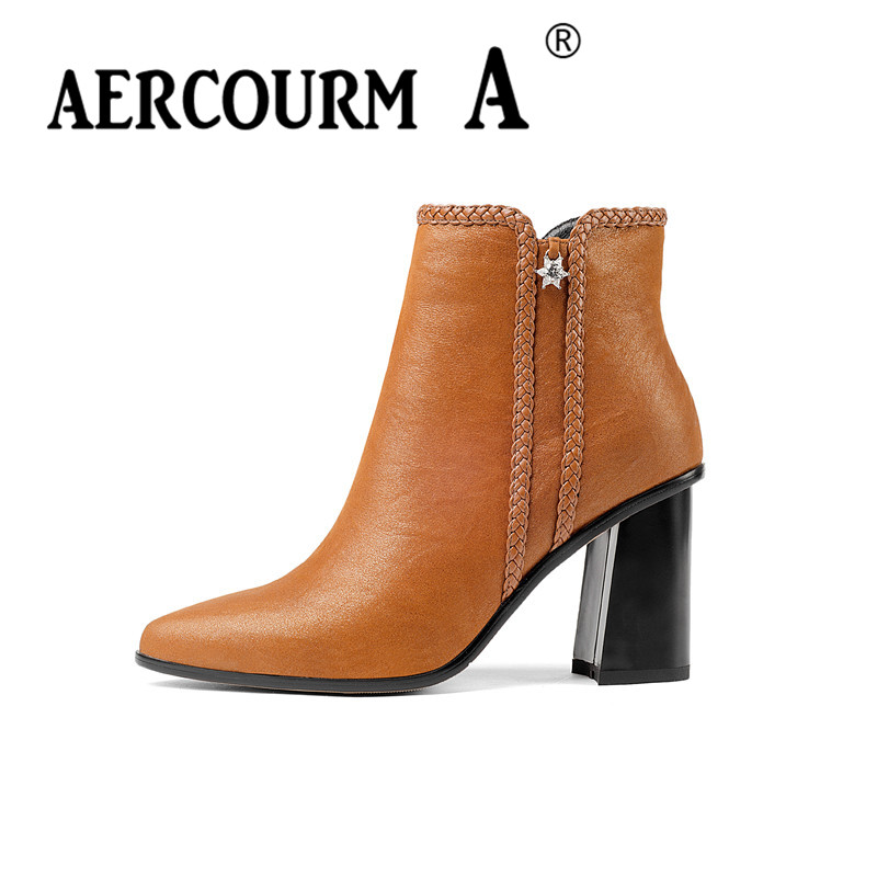 Aercourm A 2017 Women Cowhide Ankle Shoes High Quality Genuine Leather Short Plush Boots Handmade Boots Winter Zipper Boots Z948 bacia genuine leather boots short plush women shoes black simple style ankle boots with zipper handmade high quality shoes vd021