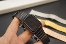 Goosuu calidad superior de la mariposa de cierre lock correa de pulsera de acero inoxidable banda de enlace para apple watch/deporte/edición 38mm 42mm iwatch