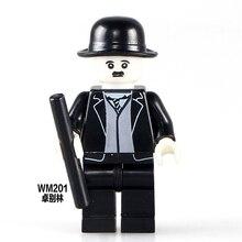 Building Block WM201 Charlie Chaplin 5Pcs Custom Made Super hero Cartoon DIY Dolls Model Toys Figure Children Gift Toys