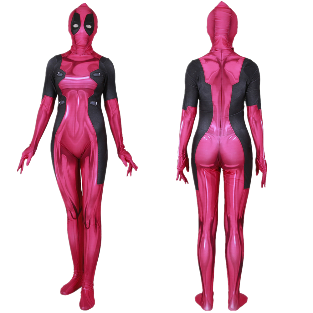 Lady Deadpool Pink Cosplay Costume Zentai Bodysuit Suit Jumpsuits