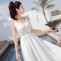 Sexy lace fairy dress Bohemian white slim v neck spaghetti strap dress summer high waist A line dress female 2019 aegean holiday