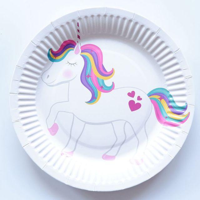 10 unids lote 7 pulgadas unicornio cumpleaños fiesta decoración plato de  papel disponible de la 3dda5364f76
