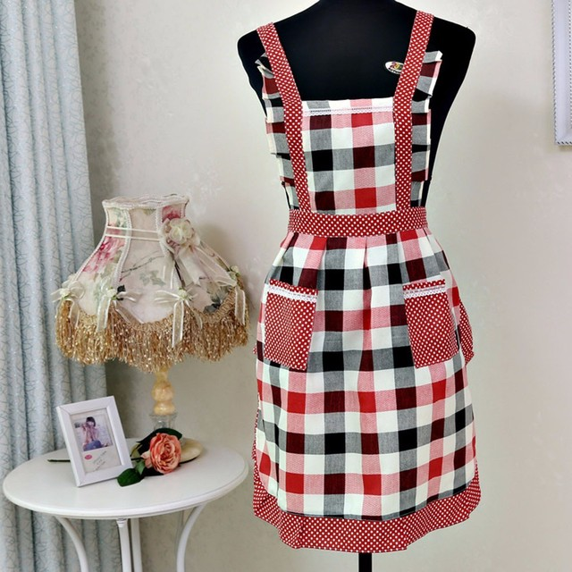 2017 New Women Apron Restaurant Home Bib Kitchen Aprons Dining Room  Barbecue Vintage Lattice Apron With ab8b61148