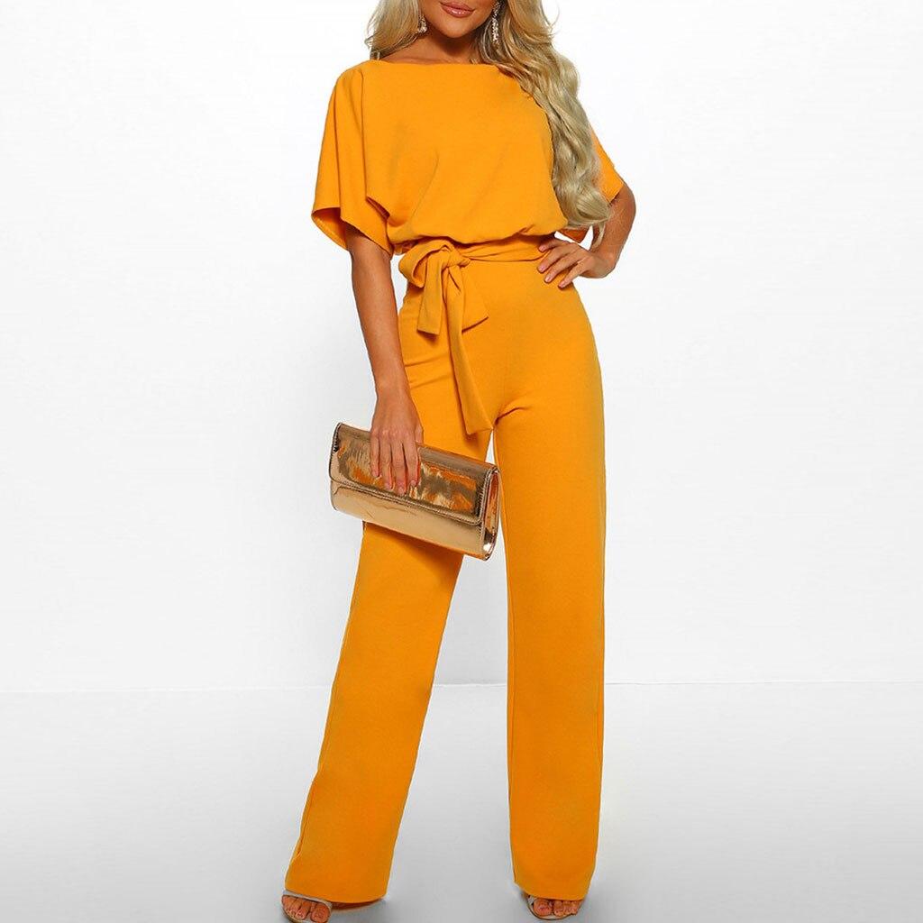 Women Short Sleeve Playsuit Clubwear Straight Leg Wide foot   Jumpsuit   With Belt