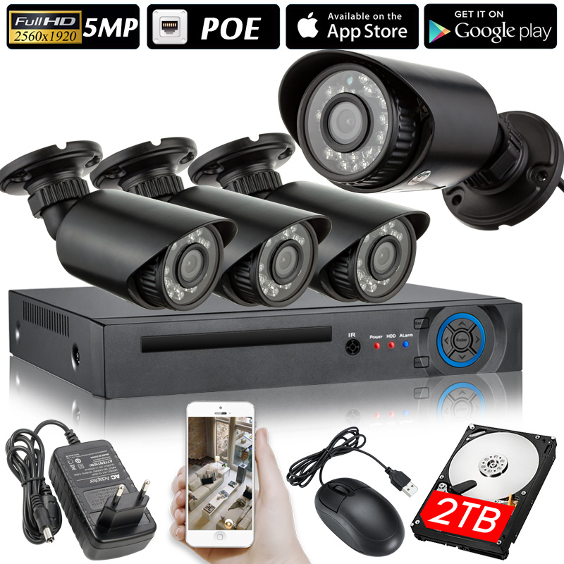 2560x1920 5.0MP POE 4CH NVR Kit CCTV System IP Camera IR IP66 Outdoor Weatherproof Video Security Surveillance Set P2P HDD image