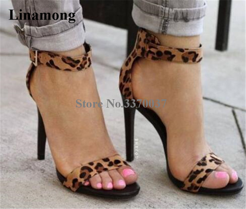 Women Summer New Design Open Toe One Strap Suede Leopard Sandals Ankle Strap High Heel Sandals Formal Dress Shoes new design women fashion open toe patent leather ankle strap high heel sandals one strap dress sandals sexy dress shoes
