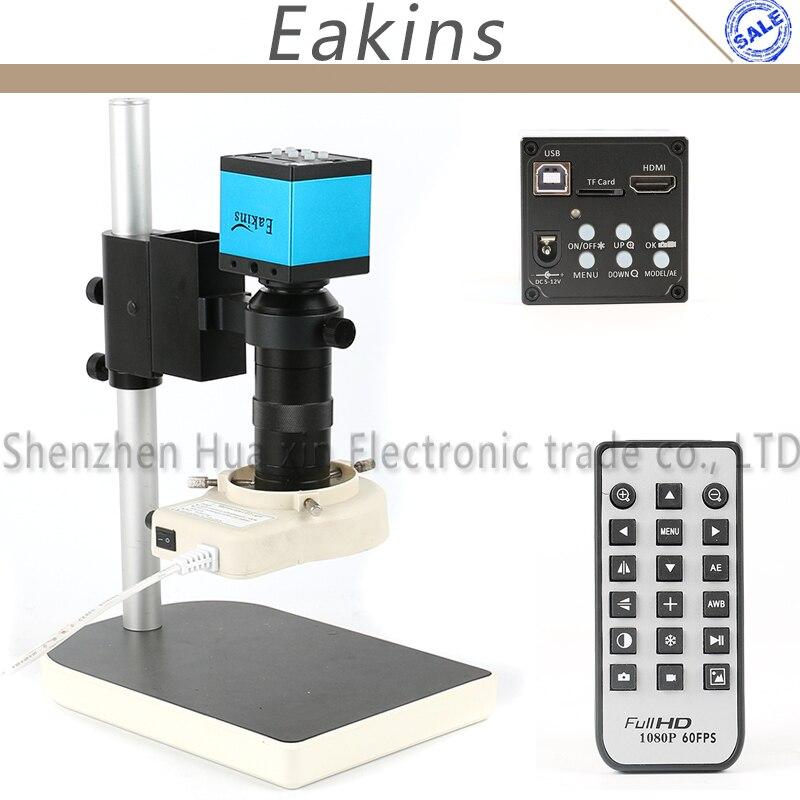16MP 1080 P HDMI USB Câmera De Vídeo Microscópio Set + 100X Industrial C-Mount lente + 56 LED Ring Light + Suporte Para Laboratório de Indústria PCB