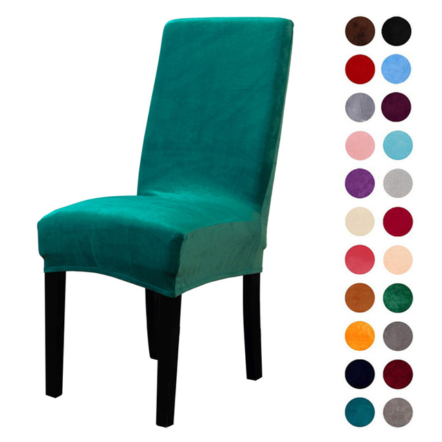 dining chair covers aliexpress best hunting blind thick solid color cover velvet spandex elastic for hotel banquet party stretch seat protective case