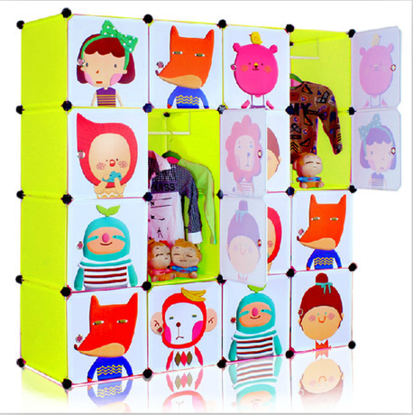 2016 Special Offer Top Fashion Red Armario  16 Cubes Easy Diy Plastic Modular Korean Children's Cartoon Wardrobe Closet